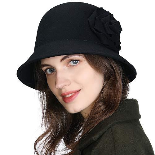 Comhats 2020-New 100% Wool Felt Cloche Fedora Hat Ladies Church Derby Party Fashion Winter