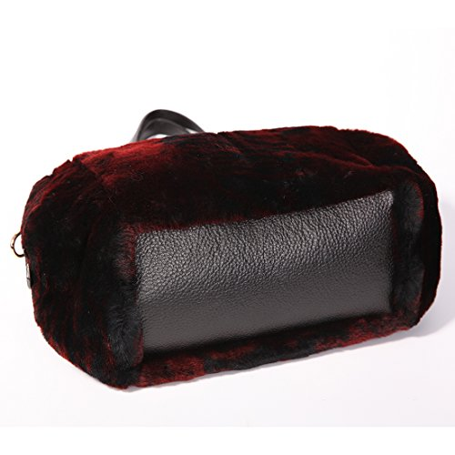 URSFUR Sac à Main/Cabas pour Femme en Fourrure de Laine de Tonte(couleur de vin rouge)