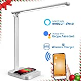 LED Desk Lamp, NAPATEK Smart Eye Caring Table Lamp with WiFi & Wireless Charger, Compatible with Echo Alexa and Google Assistant, Multi-Level Brightness Daylight Lamp for Office Study Reading, Silve