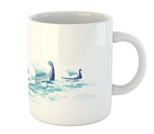 Military Mug by Ambesonne, Portrait of Viking Drakkars in Rough Nordic Sea Wood Ships of Scandinavian Ancient Art, Printed Ceramic Coffee Mug Water Tea Drinks Cup, Blue