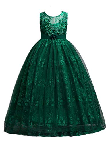 Dark Green Dresses for Teenagers Sleeveless Embroidery Princess Dresses Kids Prom Ball 13-14 Years ()