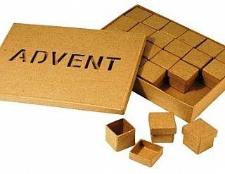 En caja regalo calendario de adviento en papel maché para decorar | Formas de papel maché