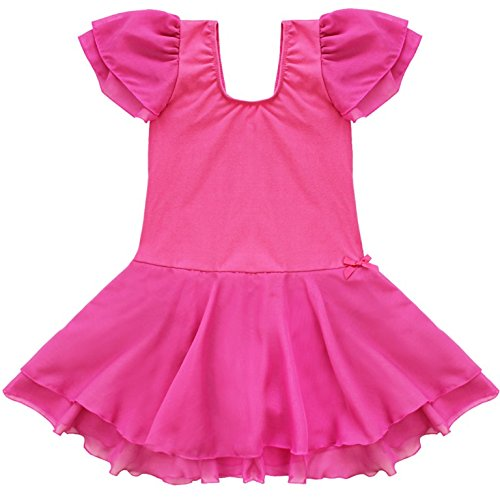 FEESHOW Girls' Gymnastic Ballet Dance Tutu Dress Leotard Skirt Princess Costume Hot Pink #2 7-8 -
