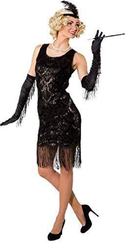 Ladies 1920s 20s Deluxe Black Sequinned Charleston Vintage Flapper Fancy Dress Costume Outfit (UK -