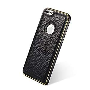ZMY Cubierta Posterior - Color Sólido - para iPhone 6 Plus ( Rojo/Negro/Blanco/Brown , Piel Genuina/Metal ) , Brown