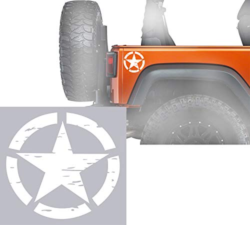 u-Box US Army Military Star Stickers in White - Body Bumper Hood Decals for Truck Jeep Wrangler Ford Chevrolet