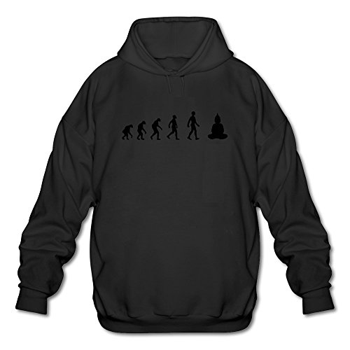 FZLB Men's Evolution Revolution Meditation Buddha Yoga Long Sleeve Hooded Sweatshirt Large Black