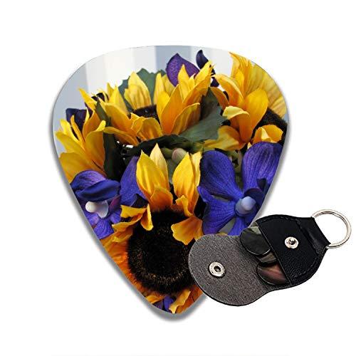 Sunflower Purple Orchid Bouquet Celluloid Guitar Picks 6 Pack Includes Thin, Medium & Heavy Gauges