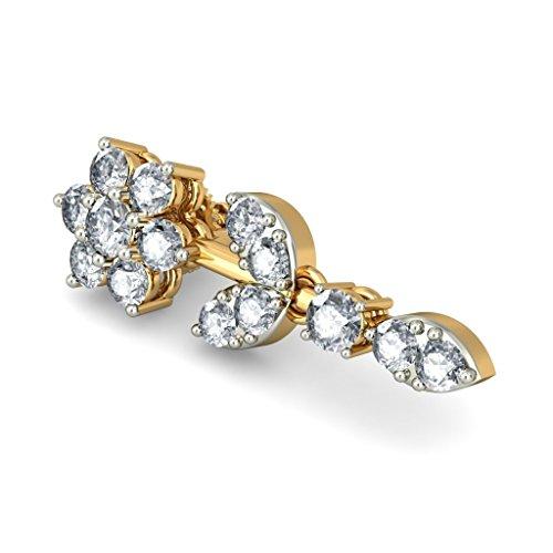 14K Or jaune 1,21carat au total White-diamond (IJ | SI) Pendants d'oreilles