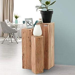 WOMO-DESIGN Tables Gigognes Set 3 Colonnes Décoratives Bois Massif Acacia 65/75/85cm -Support de Fleurs Table Basse…