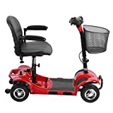 Simoner 4 Wheels Travel Power Scooter, Folding Transportable Electric Mobility Scooter Bike Including Batteries-Great Gift for Disabled Seniors Kids Children (red)