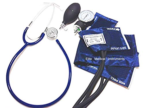 EMI #311 ROYAL BLUE Pediatric Aneroid Sphymonamoneter Set Child and Infant cuff Plus Basic Dual Head Stethoscope -