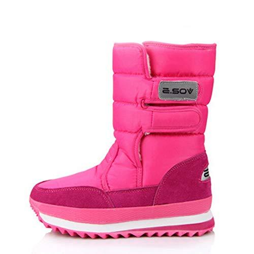 DETAIWIN Womens Mid-Calf Snow Boots Skiing Fabric Warm Waterproof Slip On Winter Platform Boots