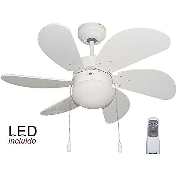 Pack Ventilador de LED y Mando a distancia color Blanco.: Amazon ...