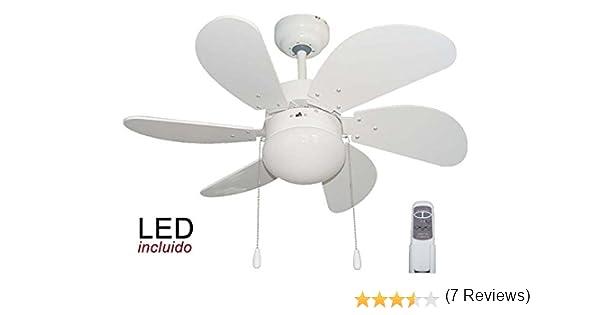Pack Ventilador de LED y Mando a distancia color Blanco.: Amazon.es: Iluminación