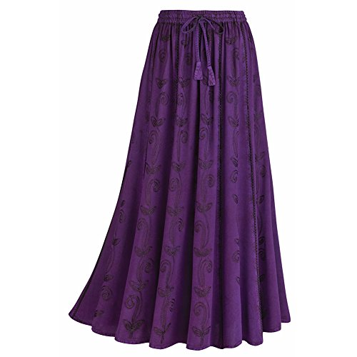 Women's Embroidered Broom Long Skirt - Enzyme Wash - Purple - (Floral Lightweight Skirt)