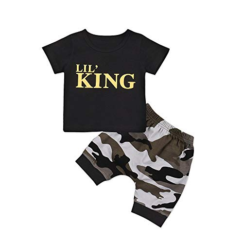 Newborn Baby Boy Girl Clothes Little Man Long Sleeve Romper,Plaid Pants + Cute Hat 3pcs Outfit Set (King Short Sleeve-Black, 0-6 -
