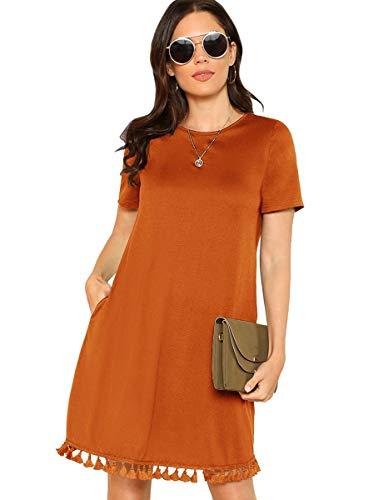 ROMWE Women's Casual Short Sleeve Tassel Hem Loose Tunic T-Shirt Dress with Pocket for Women Orange S