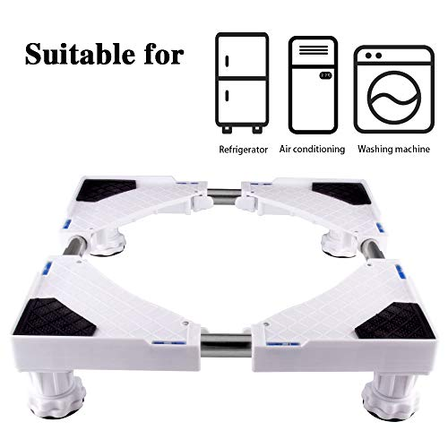 LUCKUP Multi-functional Movable Adjustable Base with 4 Strong Feet Size Adjustable Universal Mobile Case Roller Dolly for Dryer, Washing Machine and Refrigerator,White ...