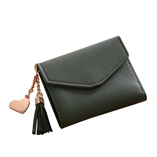 Love Wallet Simple Tassel Coin Purse Card Holders Short Handbag (Green) ()
