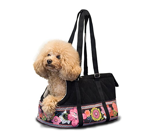 14 Karat Home Cozy Floral Quilted Suede, Travel Pet Carrier Purse, Portable Small Dog and Cat Polyester Travel Tote for Puppy and ()