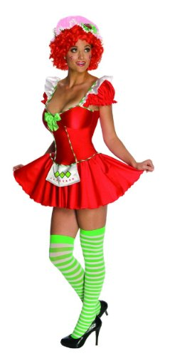 Secret Wishes Womens Strawberry Shortcake Costume, Strawberry, Small (Girls Blueberry Muffin Wig)