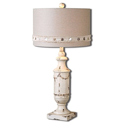 French Country Distressed Aged Ivory Table Lamp Shabby Chic