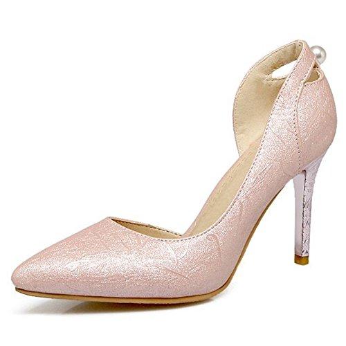 SJJH Stiletto Women Sandals Large Size Official Court Shoes All Match High Thin Heel Sandal Shoes Pink LudjcMEVa