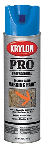 Krylon K07303000 Solvent-Based Contractor Marking Spray Paint, APWA Blue, 15 Ounce