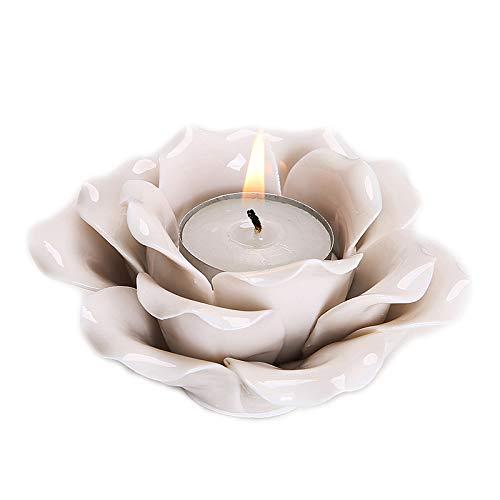 LAUYOO Bowl Candle Holders Lotus Flower Pattern with Candle Ceramic (Jade - Lotus Jade Flower