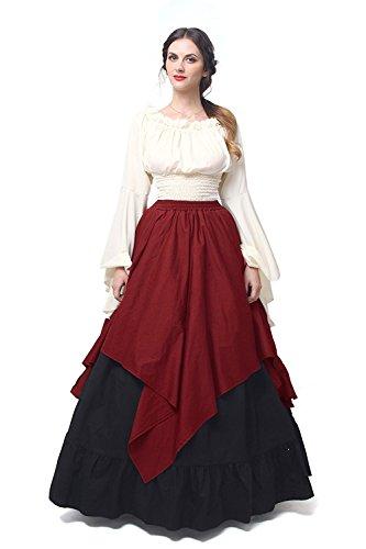 Victorian Lady Fancy Dress Costumes (Womens Renaissance Medieval Costume Dress Gothic Victorian Fancy Dresses Plus Size)