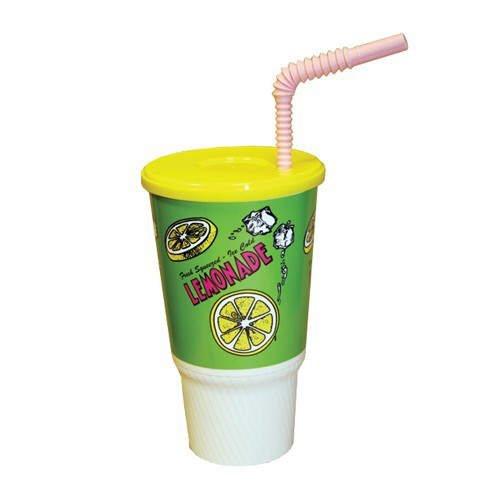 Plastic Lemonade Cup Lid & Straw 32 Oz (250 Pk)