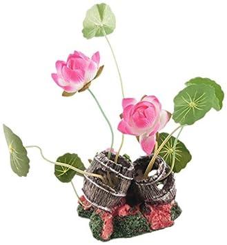 eDealMax acuario Lotus/hoja / planta decoración, Color de rosa Caliente/Blanco /