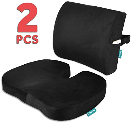 Seat Cushion Coccyx Orthopedic Memory Foam and Lumbar Support Pillow for Office Chair and Car Chair Cushion for Low Back Support, Tailbone Pain, Sciatica Relief Black Qutool