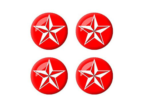 (Graphics and More Nautical Star - Red - 3D Domed Set of 4 Stickers Badges Wheel Center Cap)