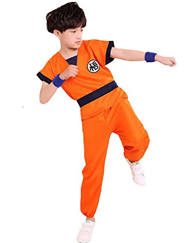 Kid Goku Costume With Tail (Aifang Boys' Girls Unisex Dragon Ball Son Goku Fancy Costumes Set Outfit Halloween Party with Golden Cudgel L)