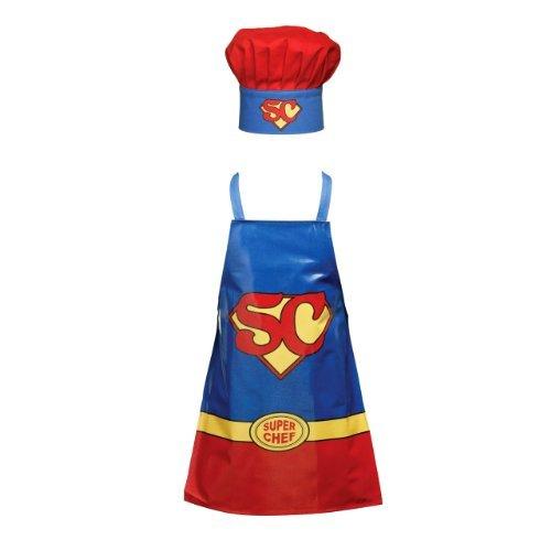 Tablier Childrens Super Chef Set PVC Cotton Apron Cotton Chef Hat Good Quality by Guinessmart