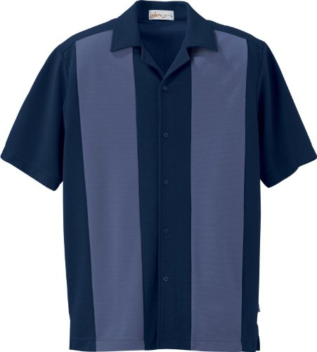 IL Migliore 87017 Men's Knit Ottoman Color-Block Camp Shirt French Navy Medium