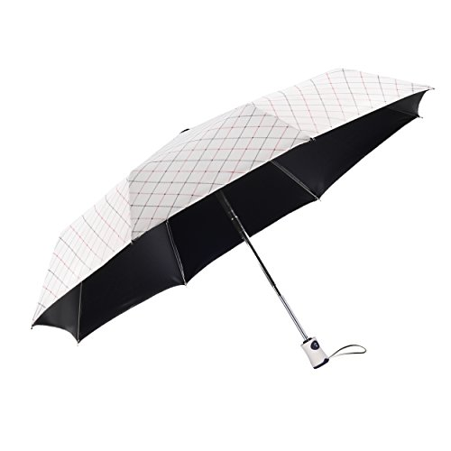 Rainbrace Sun UV Umbrella Compact Folding, Travel Rain Umbrella Automatic Windproof, Rainproof & 99% UV Protection Parasol Black Anti-UV Coating