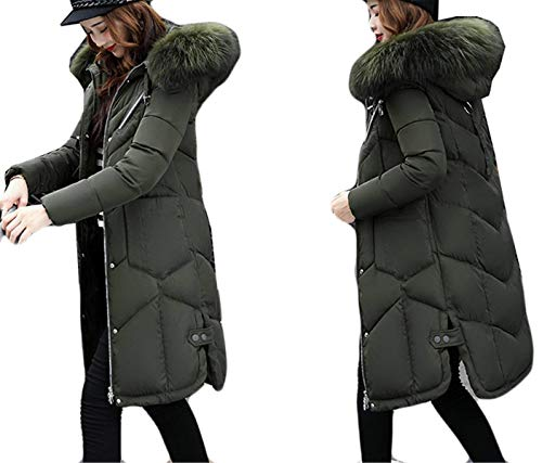 Con Parka Plumas Capucha Mujer Invierno Colores Manga Pluma Espesar Sólidos Retro Acolchado Abrigo Piel Elegantes Largos De Armeegrün Fit Larga Moda Slim Termica HUww6x