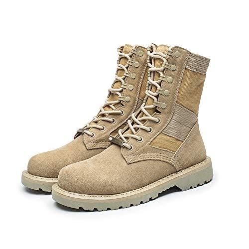 WKNBEU Uomo Autunno Inverno Outdoor Casual In Pelle Color Sabbia Lace Up Martin Boot Men Desert Patrol Army Boots Sicurezza Sul Lavoro Scarpe Alte A