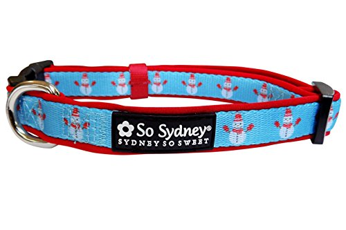 So Sydney Pet Winter & Christmas Holiday Adjustable, Comfy Dog Collar, 5' Leash (M Collar, Frosty (Christmas Dog Collar Collars)