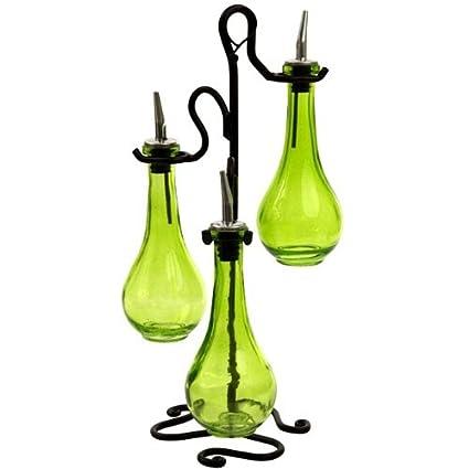 Arenas de aceite de oliva y vinagre de botellas de vidrio dispensador de 3 pc~