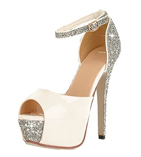 Aisun Women's Sexy Sequined Peep Toe Platform Buckle Stiletto High Heels Sandals with Ankle Straps White 10 B(M) (Ankle Strap Peep Toe Heels)