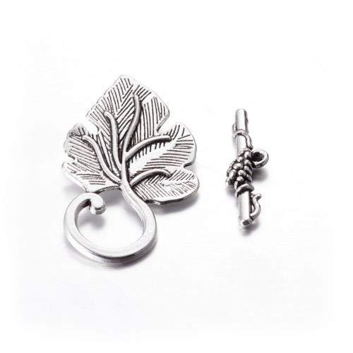 FidgetGear 10 Sets Tibetan Alloy Leaf Toggle Clasps Carved Antiqued Closure Findings 37.5mm Antique Silver ()