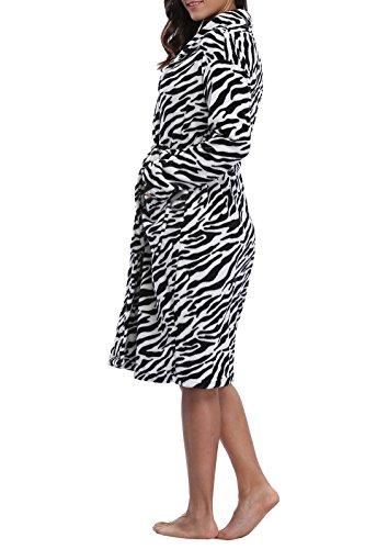 VIKEY Women's Plush Coral Fleece Short Bathrobe with Side Pockets Zebra-stripeXL (Zebra Bathrobes For Women)