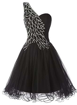 ALAGIRLS One Shoulder Short Prom Dress Tulle Sequins Homecoming Dress Black2