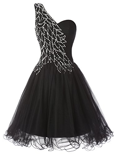 Alagirls One Shoulder Short Prom Dress Tulle Sequins Homecoming Dress Black16 (Fancy Dress Free Delivery)