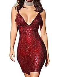 Women Sexy Sequins Spaghetti Strap Bodycon Club Mini Dress Gold Blue Red