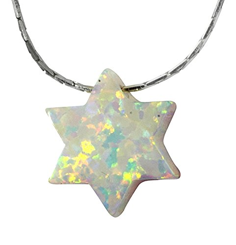 Star Of David White Necklace - Synthetic White Opal Star Of David Necklace Jewish Charm Pendant with 18.9